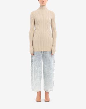 Mm6 By Maison Margiela High Neck Sweater Beige