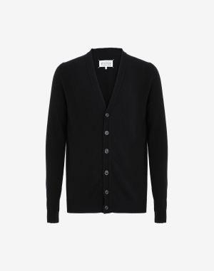 Maison Margiela Cardigan Black Cashmere, Wool, Mohair Wool , Polyamide