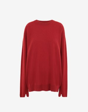 Maison Margiela Crewneck Sweater Red Wool, Cashmere