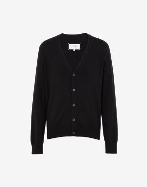 Maison Margiela Cardigan Black Wool, Bovine Leather