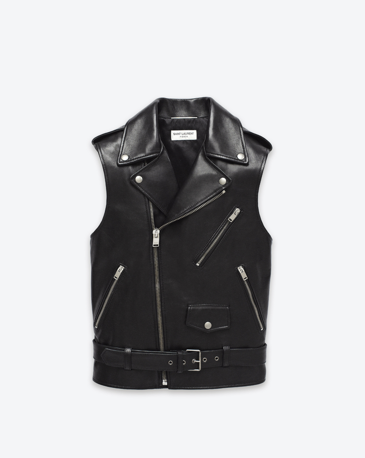 saintlaurent, Classic Motorcycle Vest in Black Leather