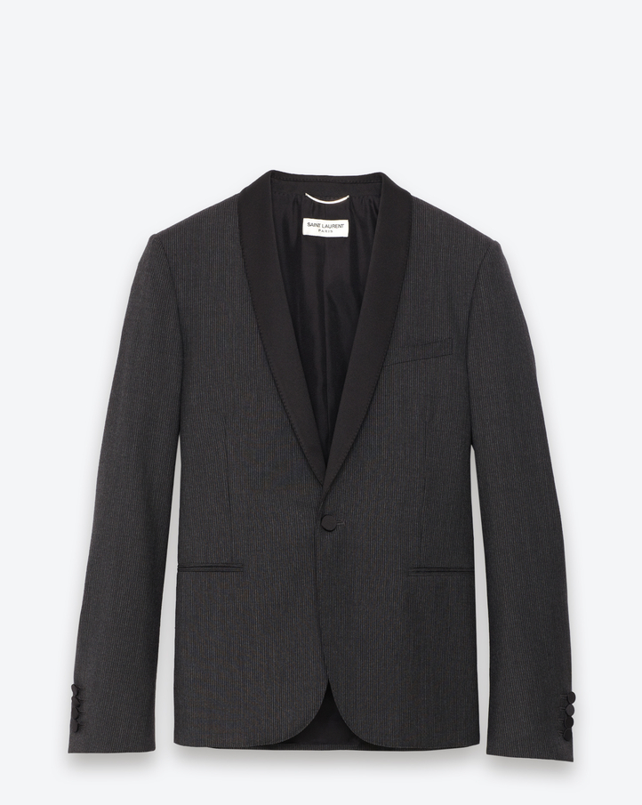 saintlaurent, Classic Single Breasted Jacket in Grey and Anthracite Striped Wool