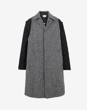 Maison Margiela Coats And Trenches Steel Grey Wool, Polyamide
