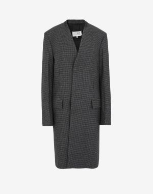 Maison Margiela Coats And Trenches Steel Grey Wool