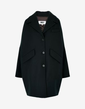 Mm6 By Maison Margiela Coats And Trenches Dark Green Wool, Polyamide