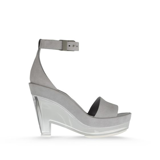 Stella McCartney Valerie Faux Suede Plexi Wedges in Gray