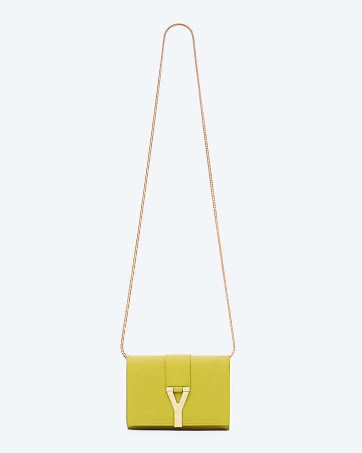 saintlaurent, Classic Small Y Satchel in Yellow Leather