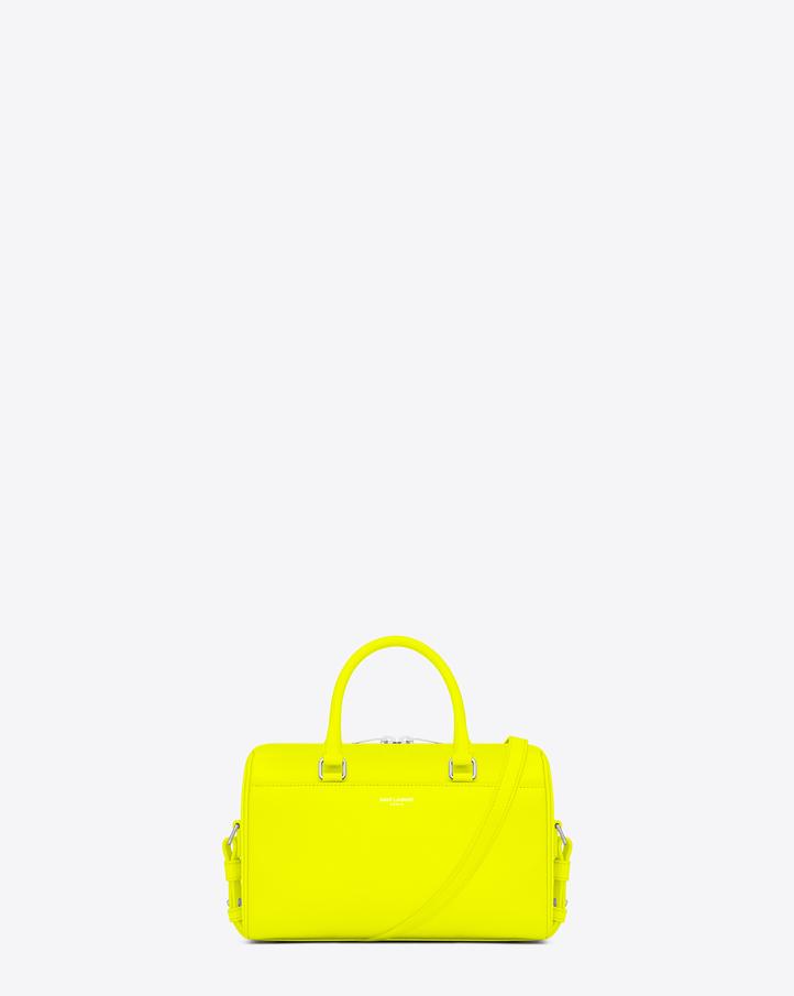saintlaurent, Classic Baby Duffle Bag in Neon Yellow Leather