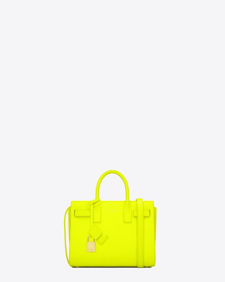 saintlaurent, Classic Baby Sac De Jour Bag in Neon Yellow Leather
