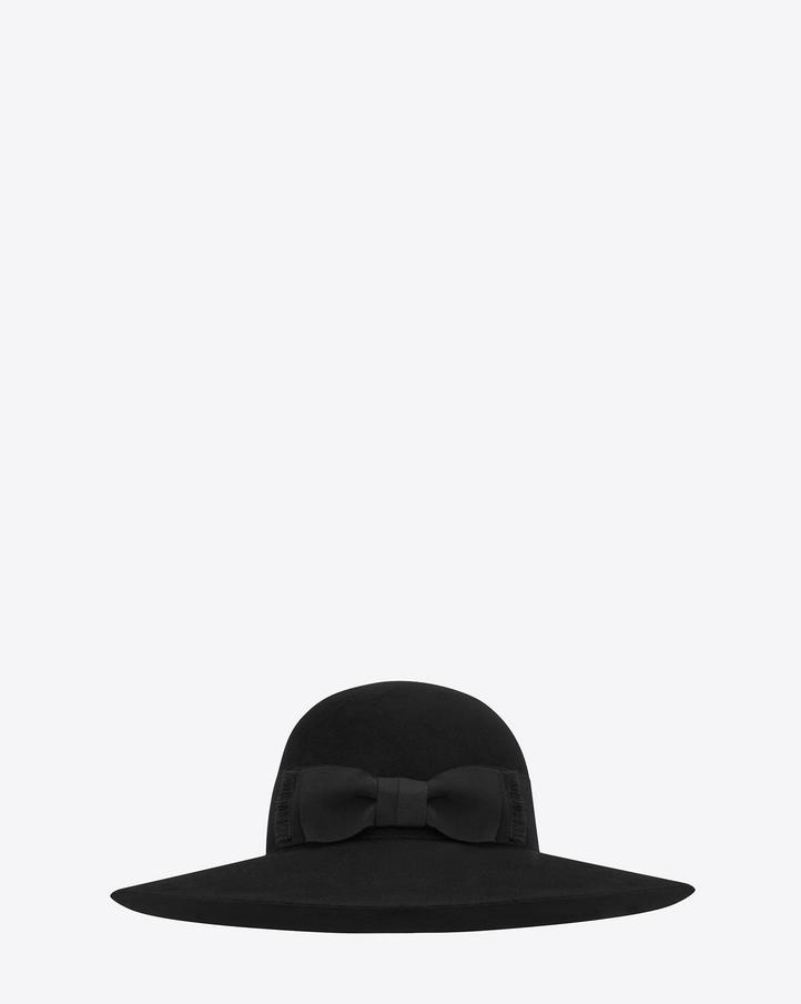 saintlaurent, Saint Laurent Hat in Black Felted Rabbit Fur