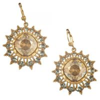 Catherine Popesco Small Hoop and Crystal Earrings in Shade ...