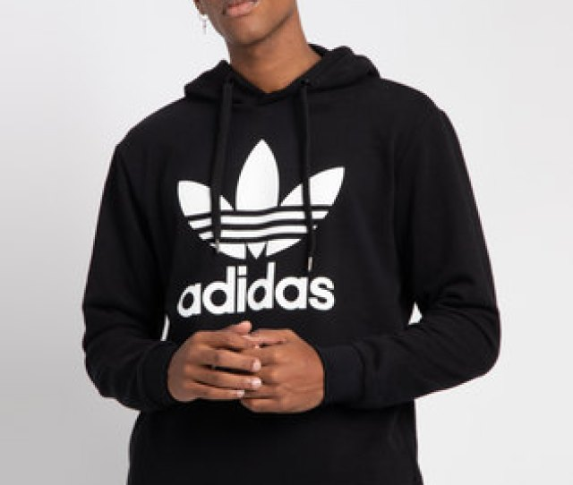 Adidas Mens Over The Head Hoodie Black White