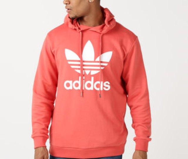 Adidas Originals Mens Over The Head Hoodie Scarlet White
