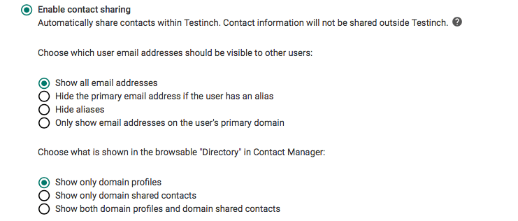 G Suite Google Contacts settings