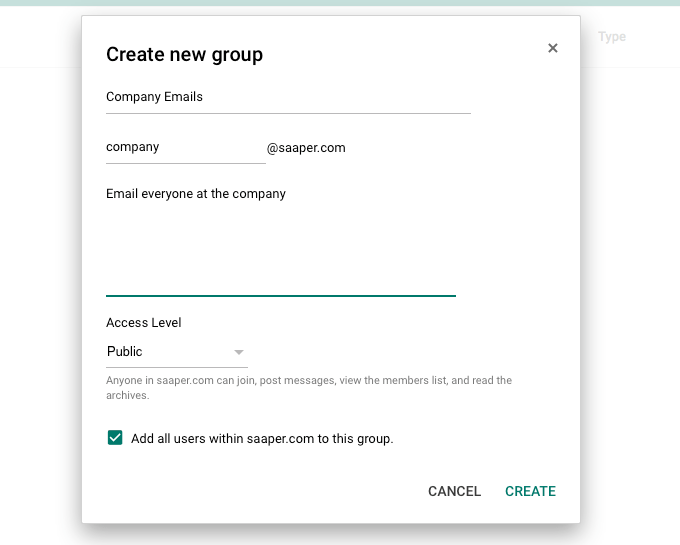 Create company Google Group email