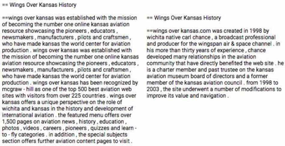 Left: Automated Wikipedia entry for Wings over Kansas. Right: The Wiki entry edited by humans. Image credit: Liu et al.