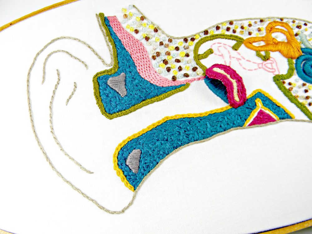 medium resolution of an embroidered diagram of the inner ear image credits hey paul studios