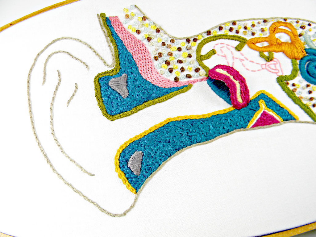 hight resolution of an embroidered diagram of the inner ear image credits hey paul studios