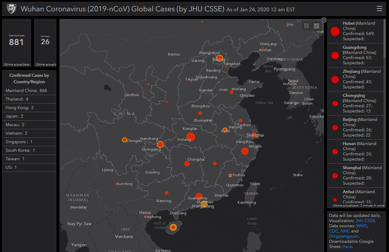 Real-time maps of coronavirus (COVID-19) spreading around the world