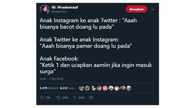 Perbedaan Komentar Anak Instagram, Twitter dan Facebook
