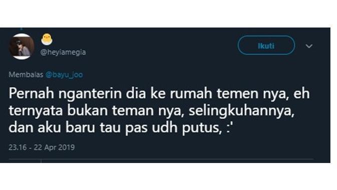 Curhatan Netizen Saat Jadi Bucin (Sumber: Twitter/@heyiamegia)