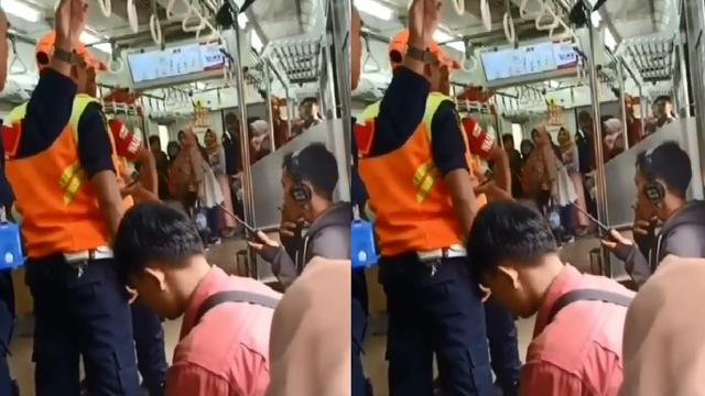Viral penumpang merokok di dalam KRL