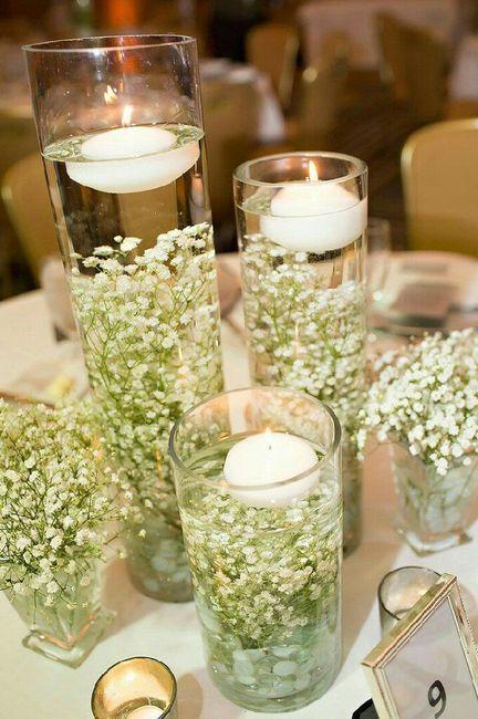3 centros de mesa con flor nube  Foro Organizar una boda