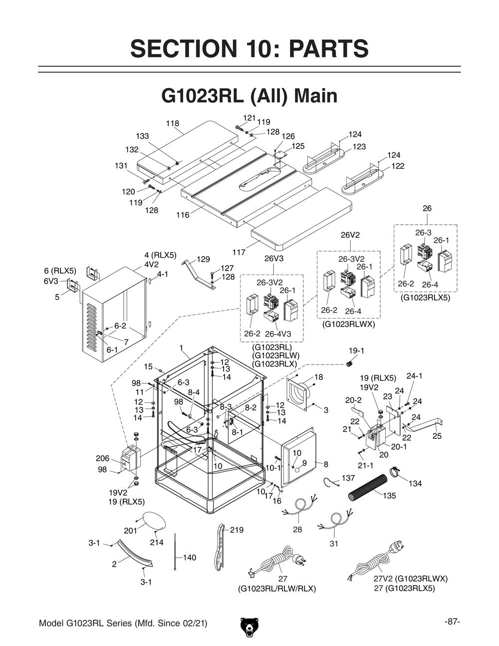 medium resolution of g1023rl 10 3 hp 240v cabinet left tilting table saw