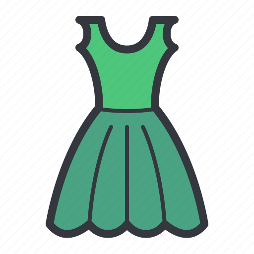 Cartoon clothes dress green illustration woman icon