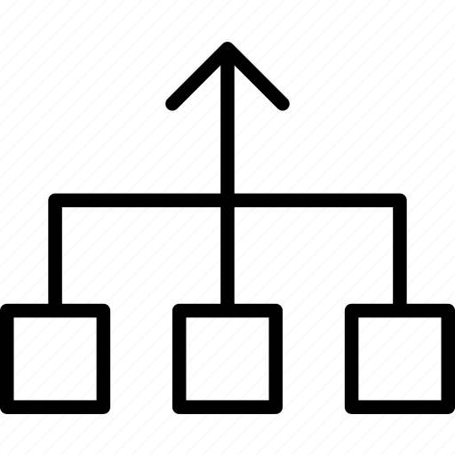 Chart, flow, items, merge, process, squares icon