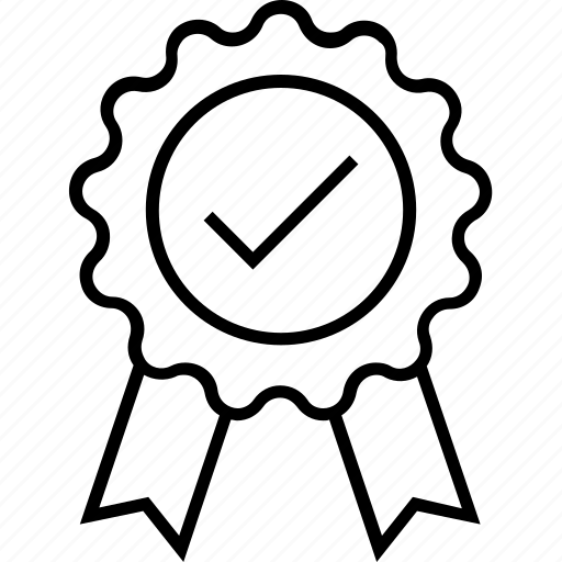 Award, badge, merit, recommendation, tick icon