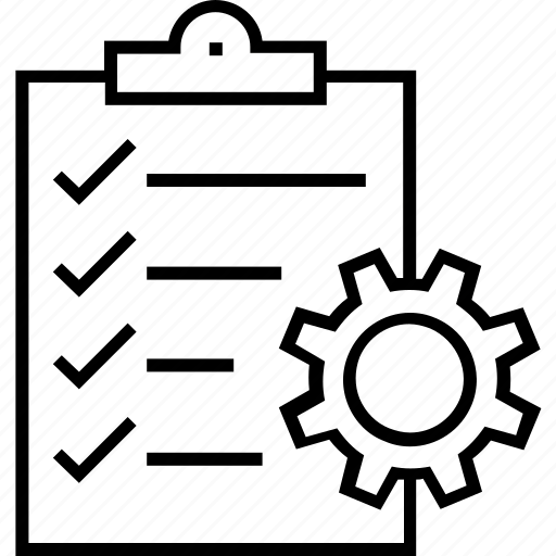 Clipboard, cog, project, project management, task icon