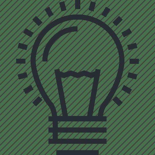 Big, idea, innovation, line, new, thin icon