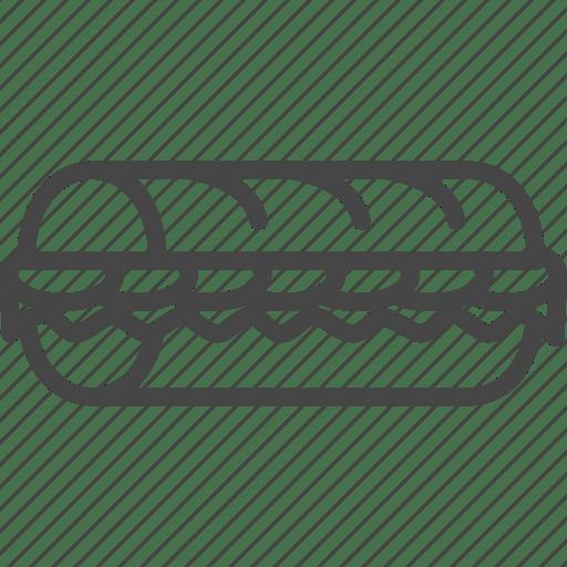 Fast, fast food, food, line, outline, sandwich, sub icon