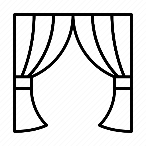 Curtain, curtains, stage, theater, window icon