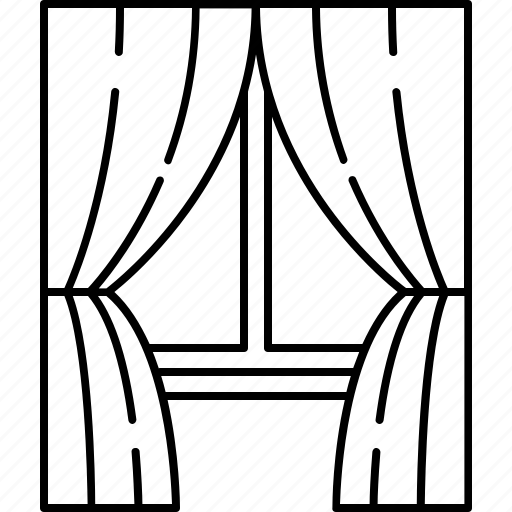 Curtains, frame, furniture, glass, home, window icon