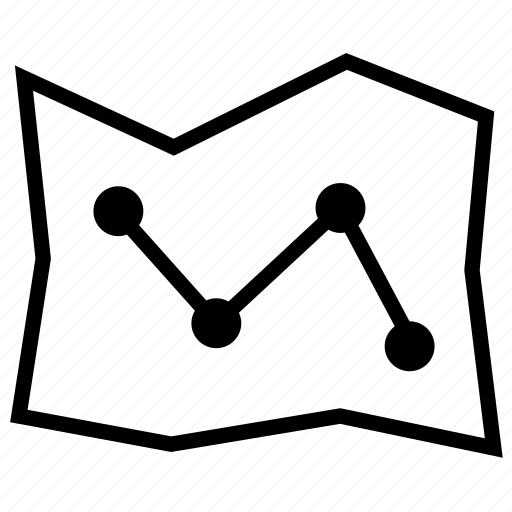 Connection, direction, location, map, road, route, scheme icon