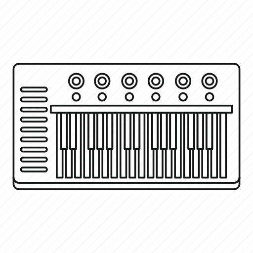 Instrument, line, music, outline, piano, synthesizer, thin