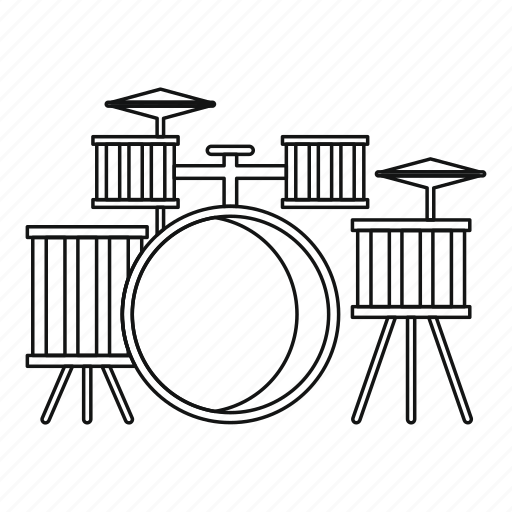 Cymbal, drum, kit, line, outline, percussion, thin icon