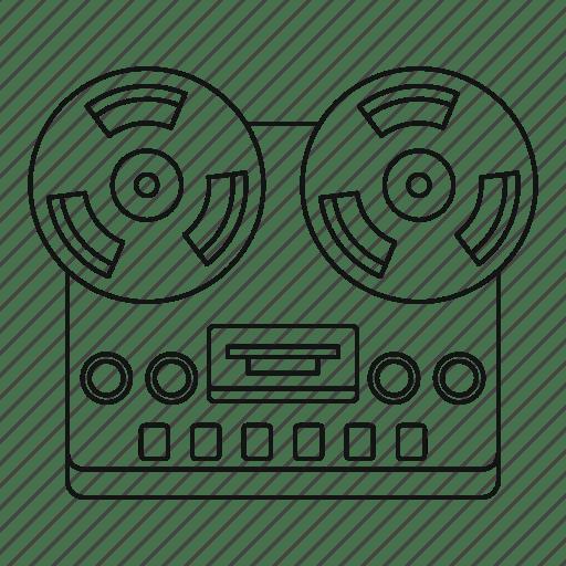 Equipment, line, outline, recorder, retro, stereo, thin icon