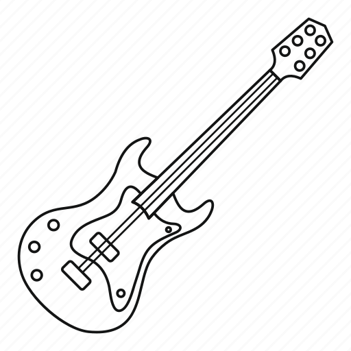 Electric, guitar, line, music, outline, string, thin icon