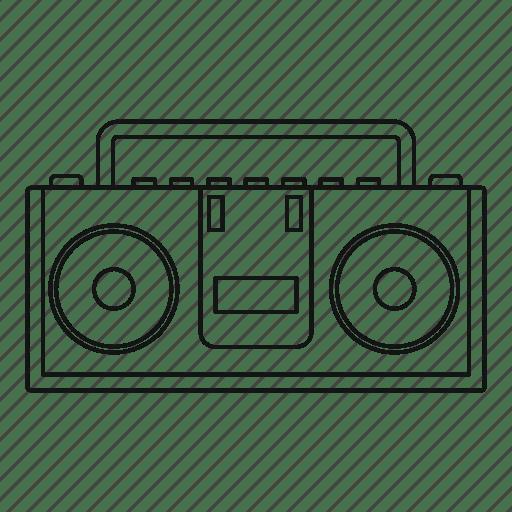 Audio, boombox, line, outline, radio, sound, thin icon