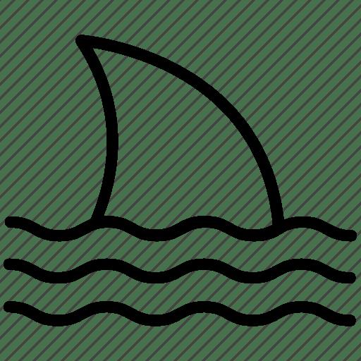 Fin, fish, shark, shark dorsal, shark fin icon