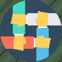 Ícone - círculo de mãos apertando o braço do outro - mostrando união de pessoas e trabalho conjunto.