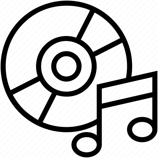 Audio disc, cd, dvd, music cd, music note icon