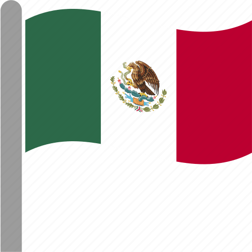 Country. flag. mex. mexican. mexico. pole. waving icon