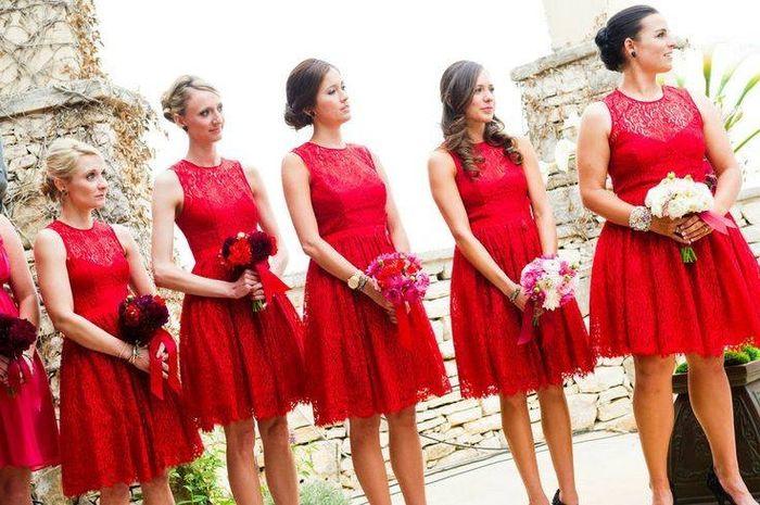 Damas De Honor De Color Rojo