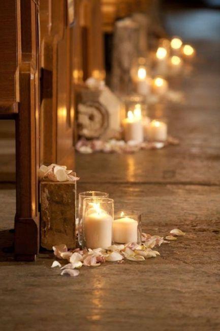 Decoraciones para la iglesia con velas