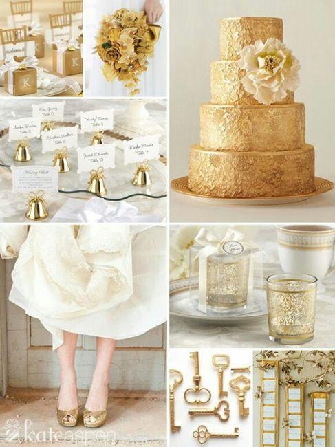 Decoracin de una boda en dorado y blanco