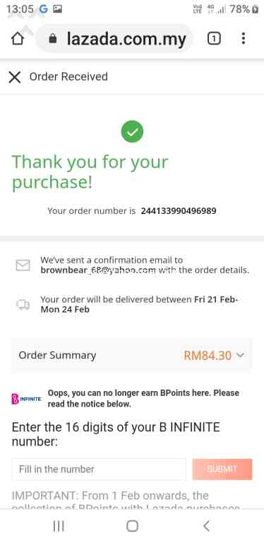 Lazada Malaysia - Im already paid but my order missing Feb 17. 2020 @ Pissed Consumer